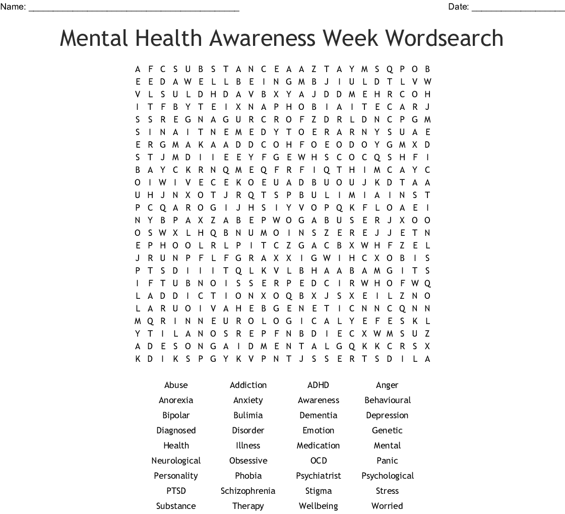 Psychological Disorders Word Search