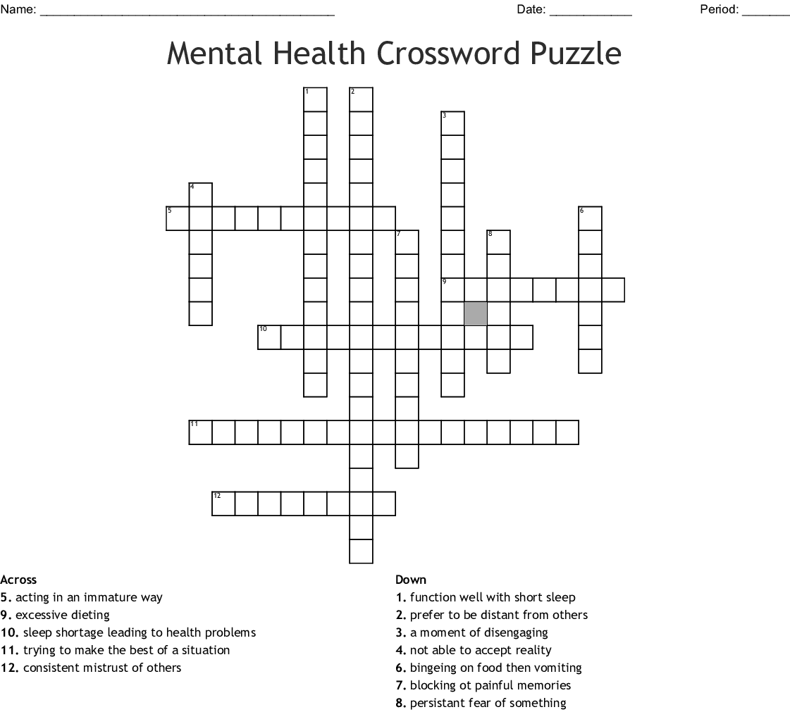 Health Crossword Worksheet
