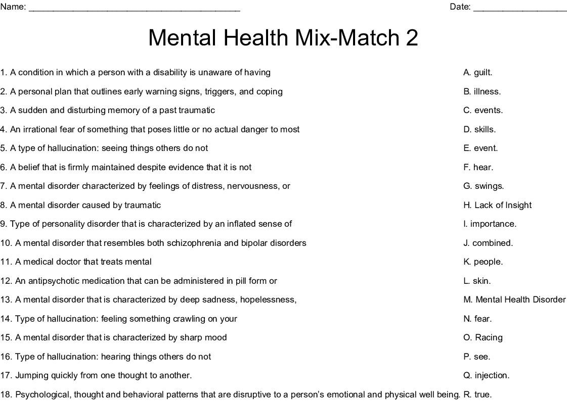 Mental Health Crosswords Word Searches Bingo Cards