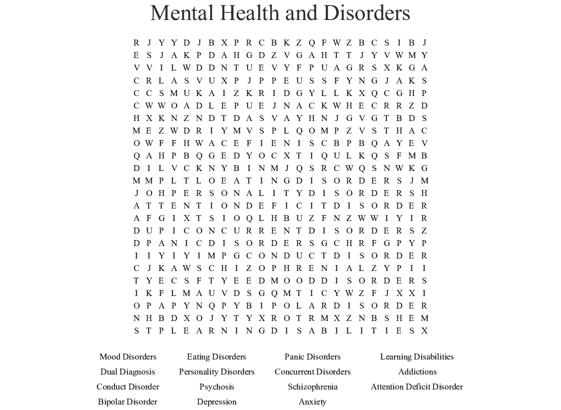Mental Health And Disorders Word Search