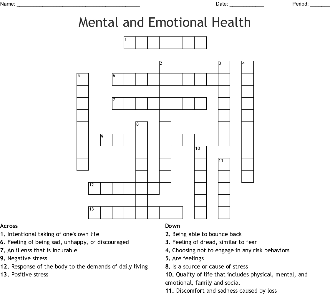 Mental And Emotional Health Crossword