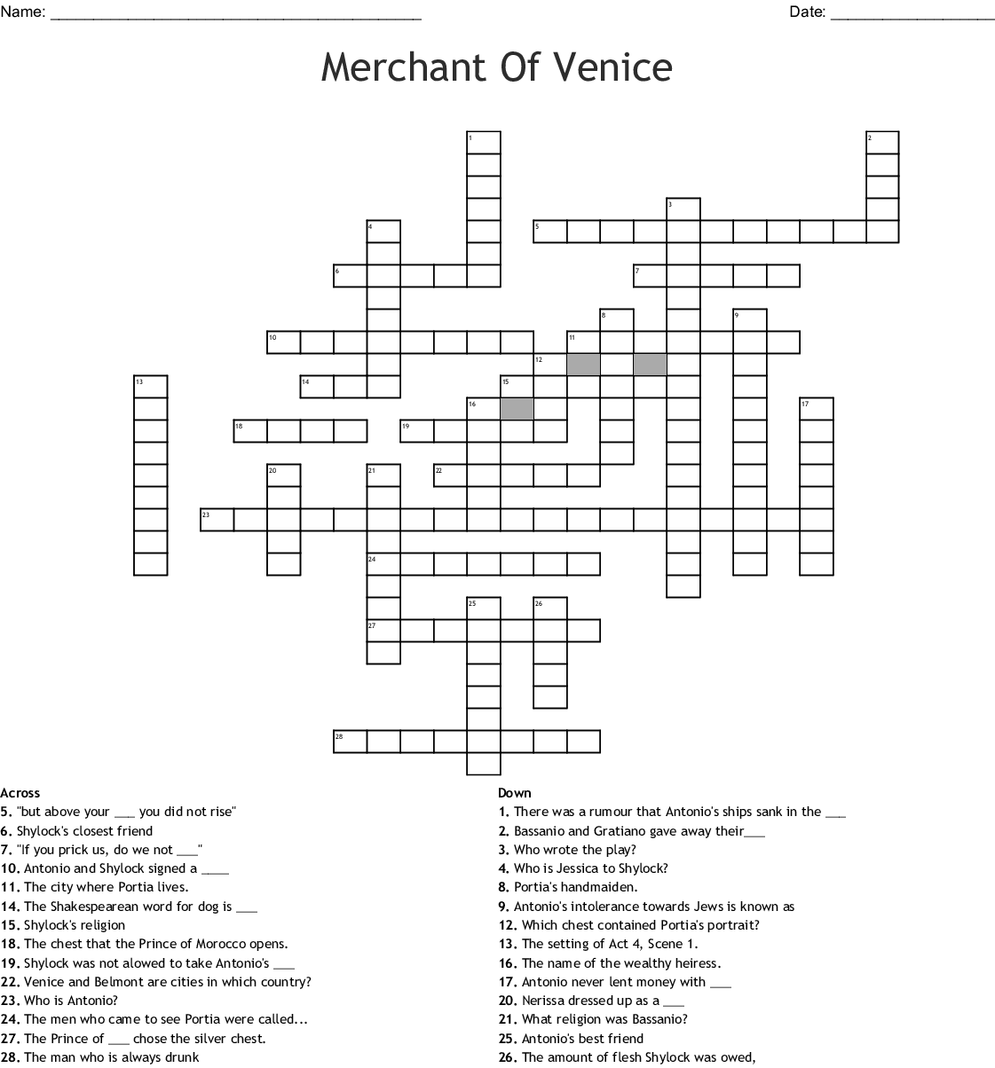 Merchant Of Venice Word Search