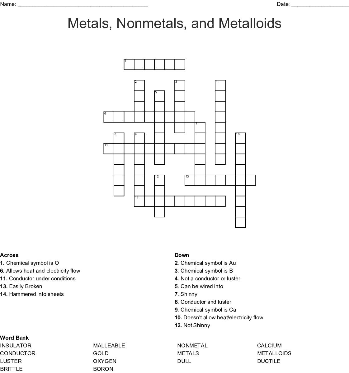 Metals Nonmetals And Metalloids Crossword