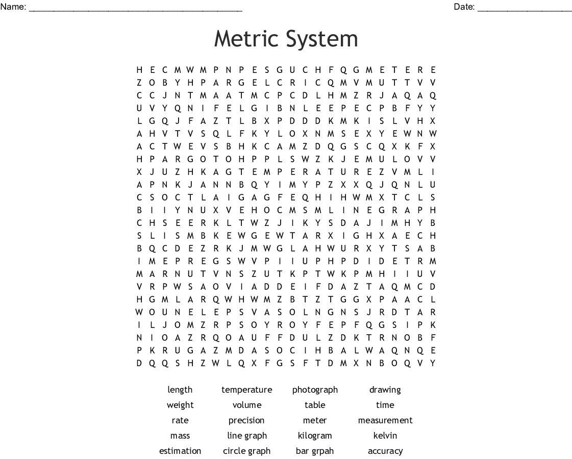 Measurement Mass Volume And Density Word Search