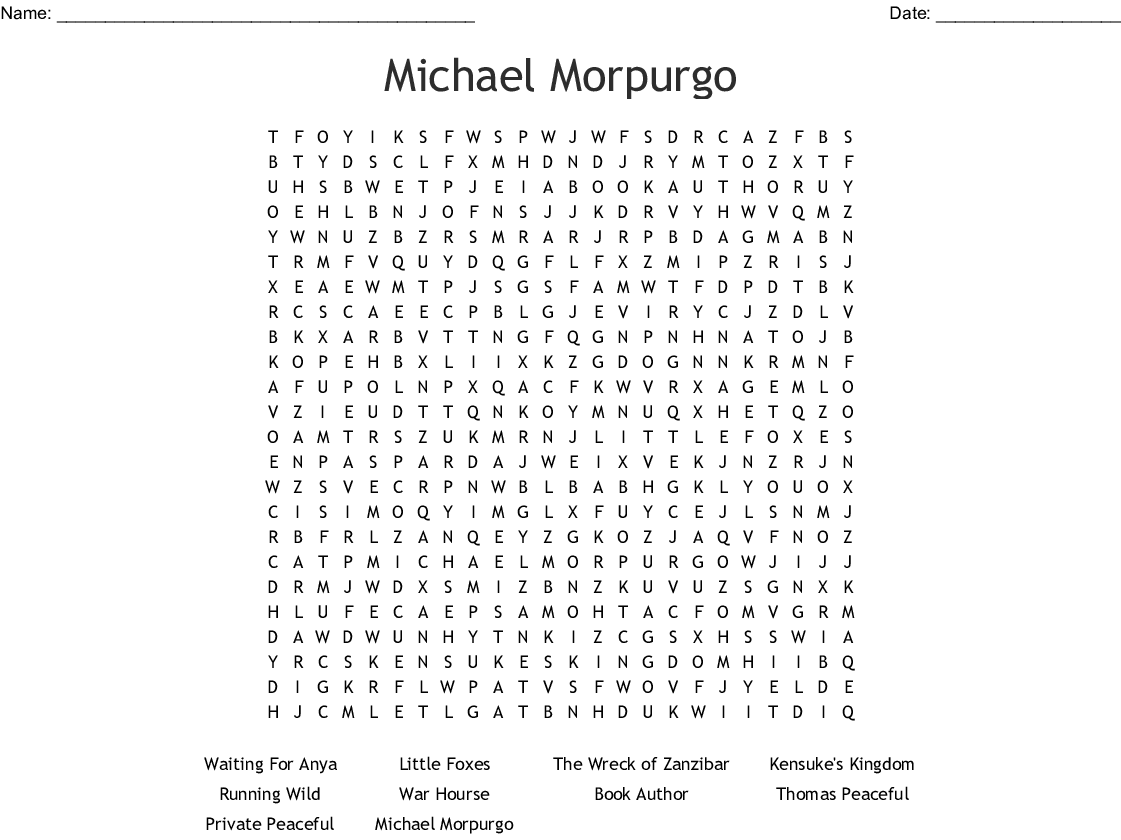 Michael Morpurgo Word Search