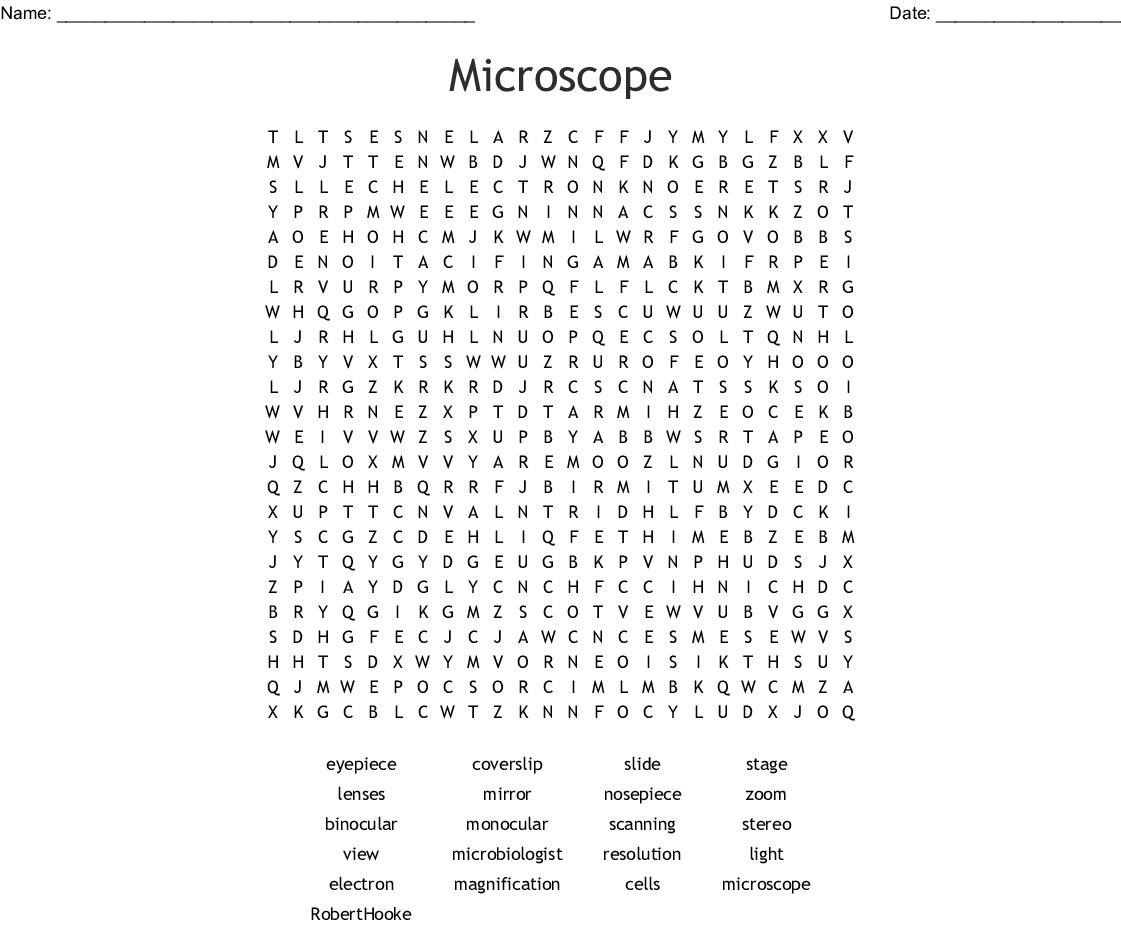 Microscope Word Search Answer Key