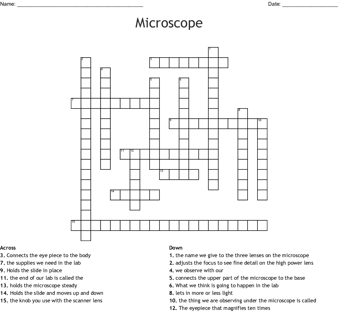 Science Microscope Crossword Puzzle Answers