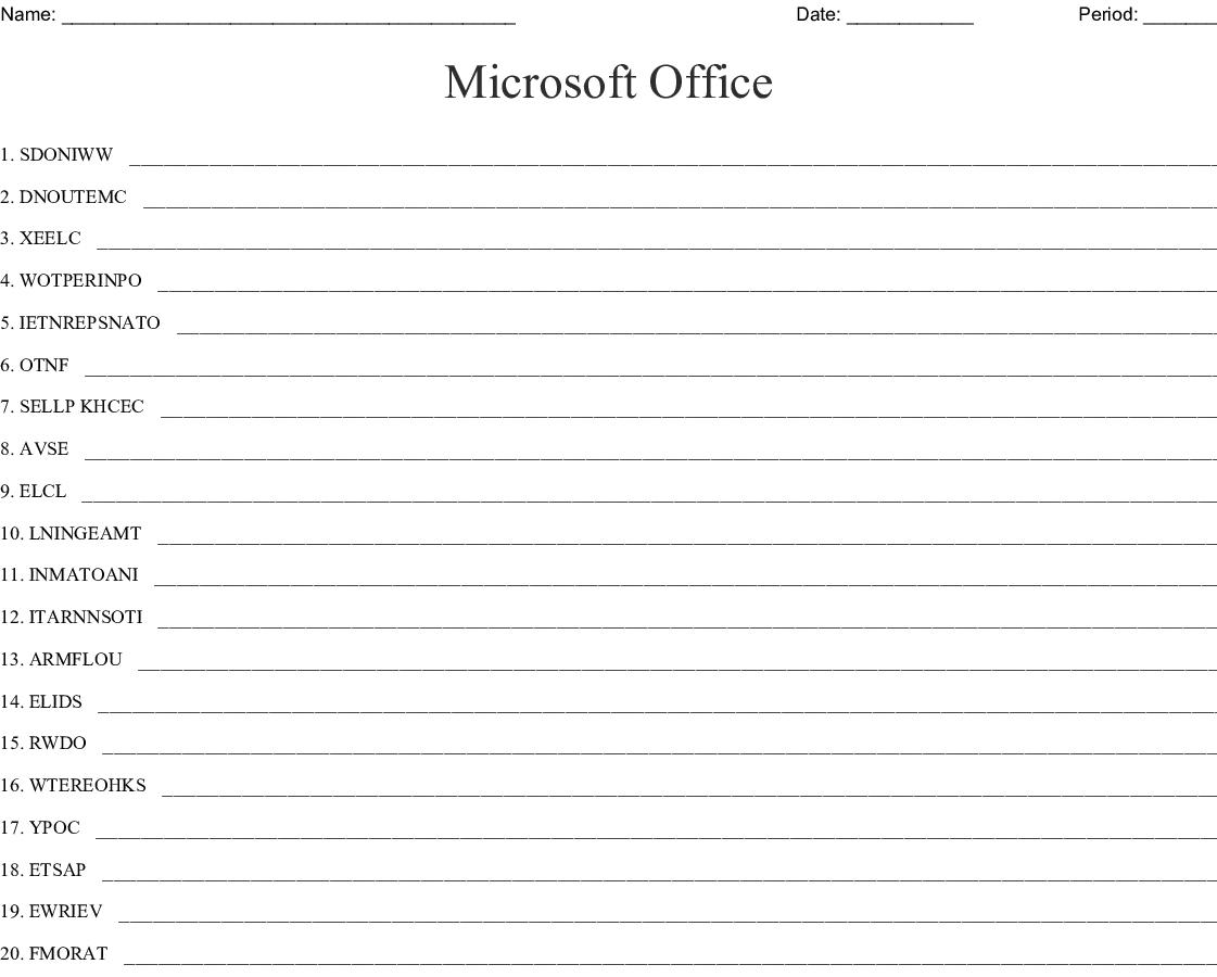 Microsoft Office Word Scramble