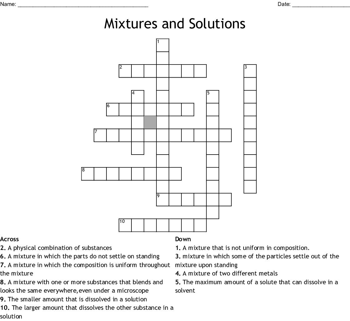 Mixtures And Solutions Crossword