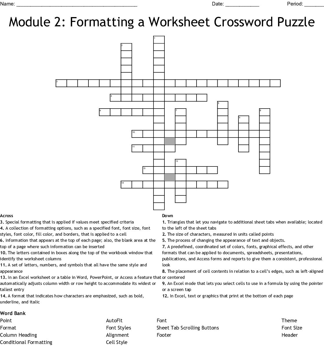 Module 2 Formatting A Worksheet Crossword Puzzle