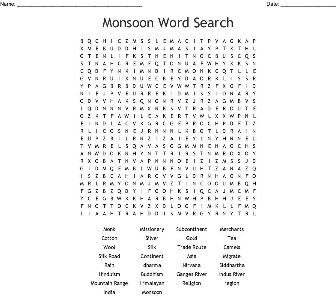 Monsoon Word Search