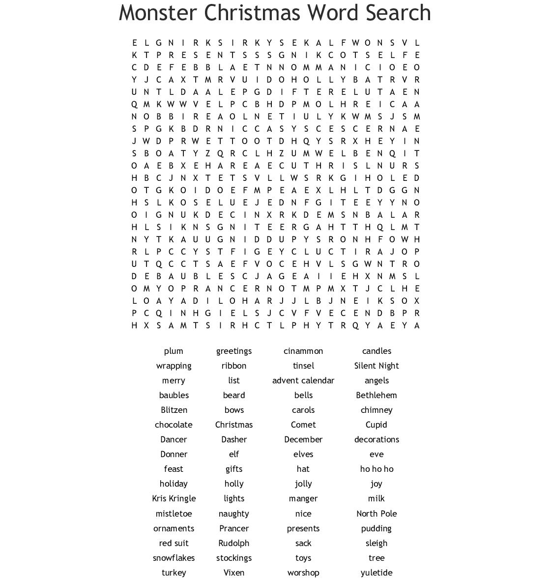 Similar To Christmas Word Search
