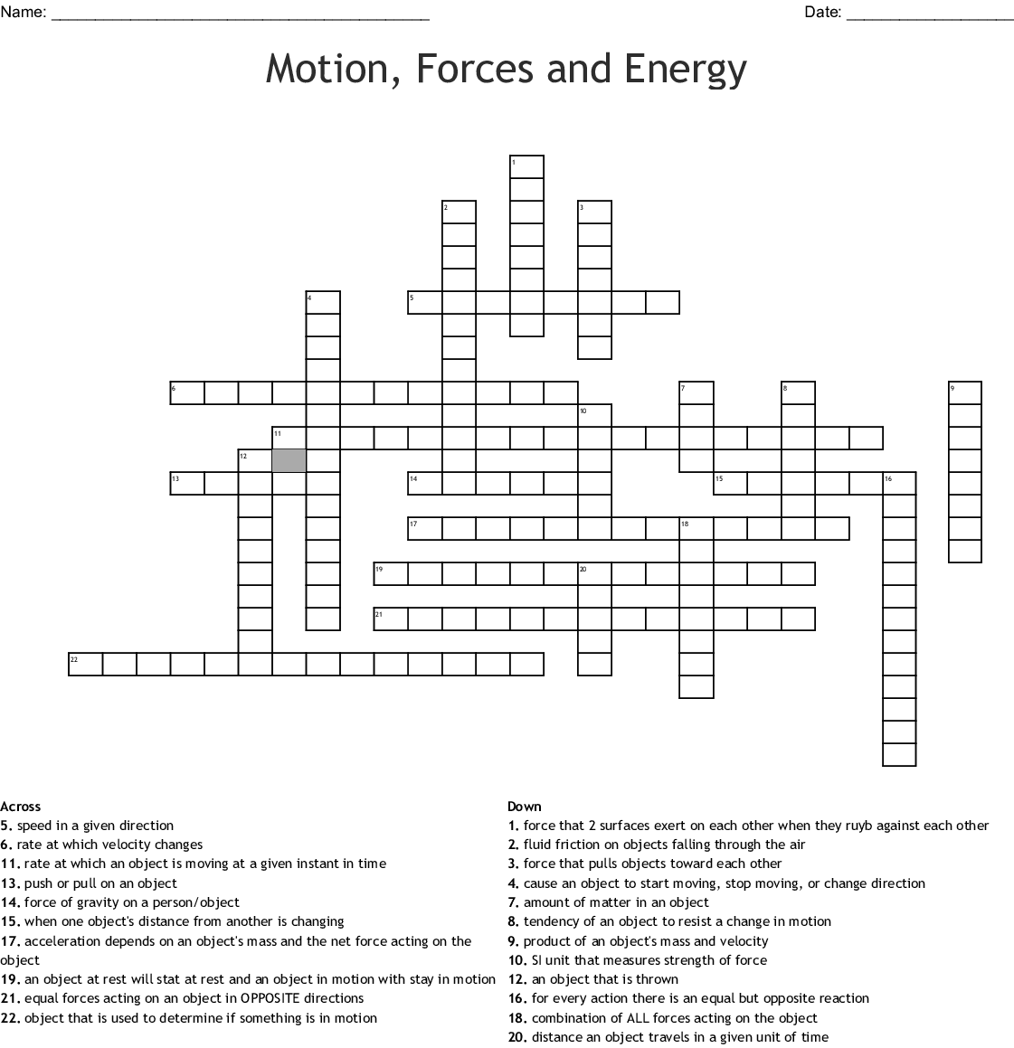 Motion Forces And Energy Crossword