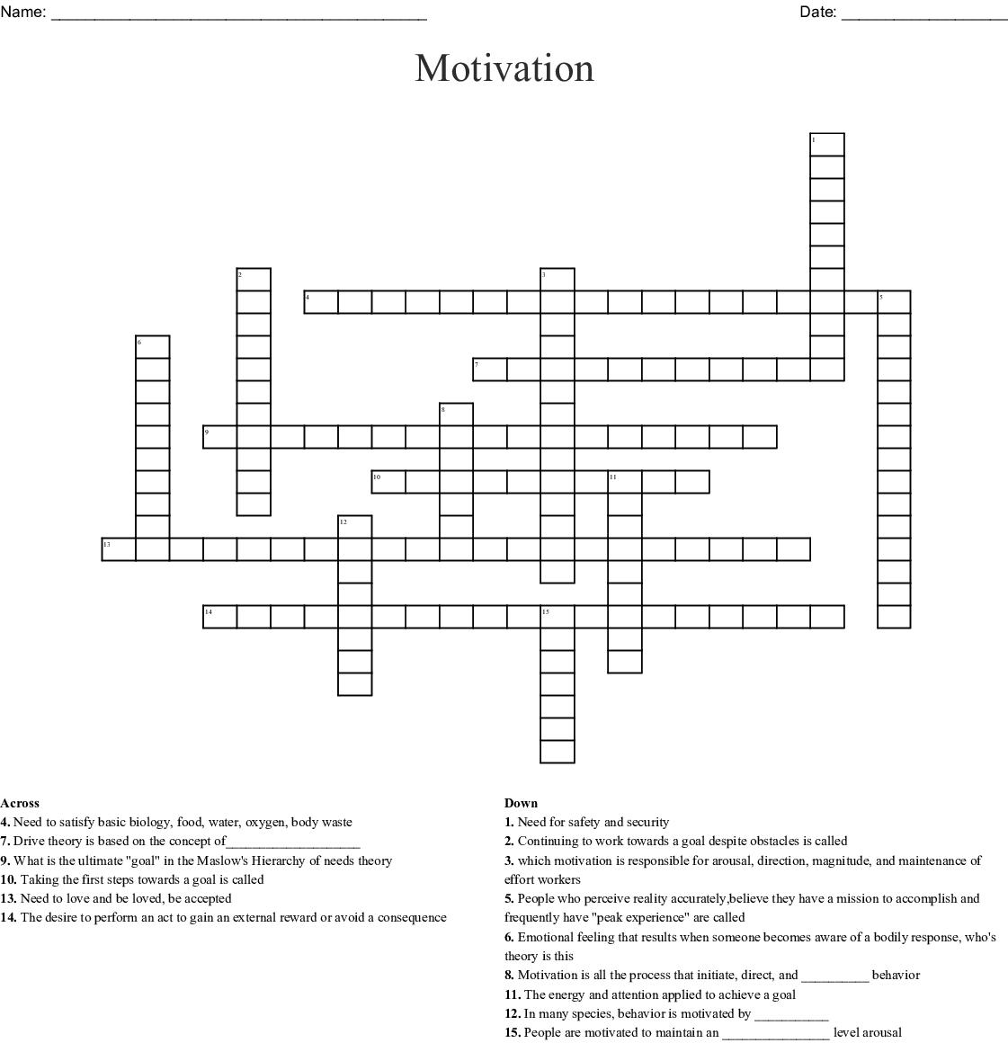 Motivation Crossword