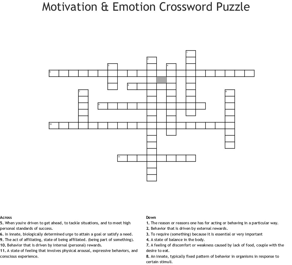 Behavior Crossword Puzzle Worksheet