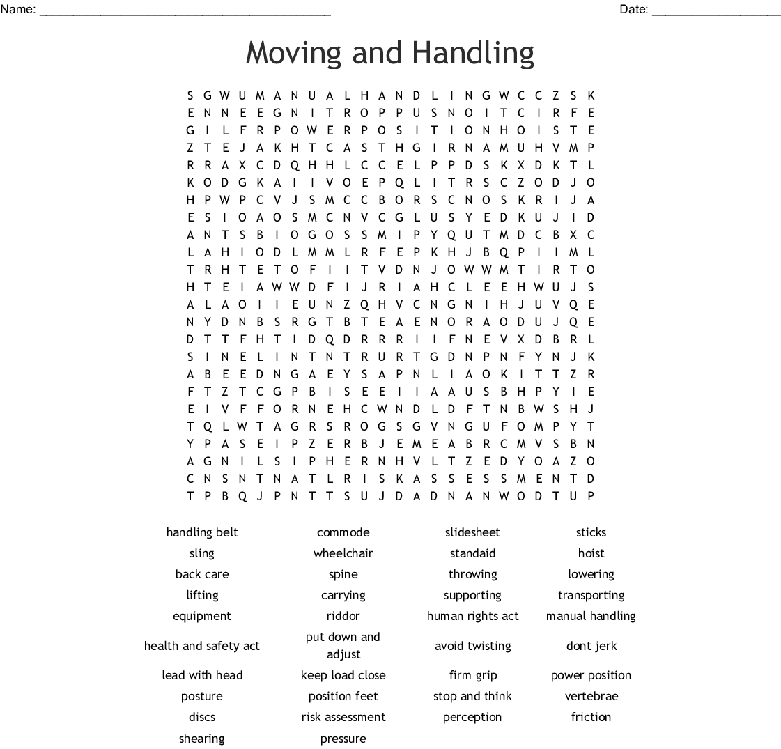 Moving And Handling Word Search