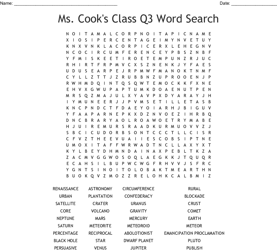 Ms Cook S Class Q3 Word Search