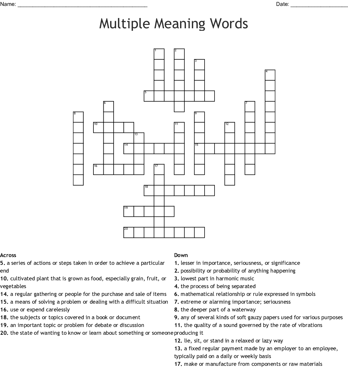 Multiple Meaning Words Crossword