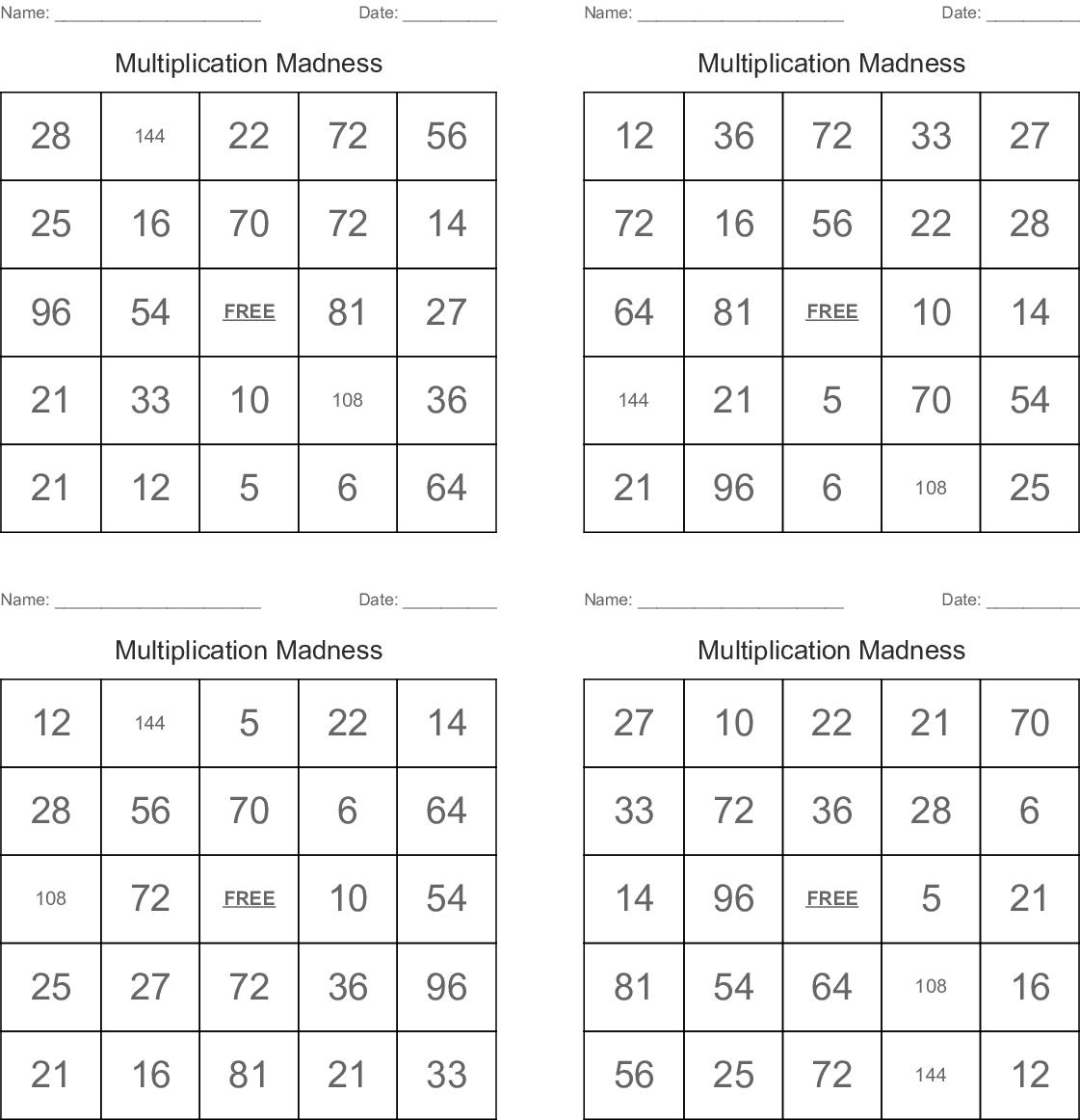 Mathematics Crosswords Word Searches Bingo Cards