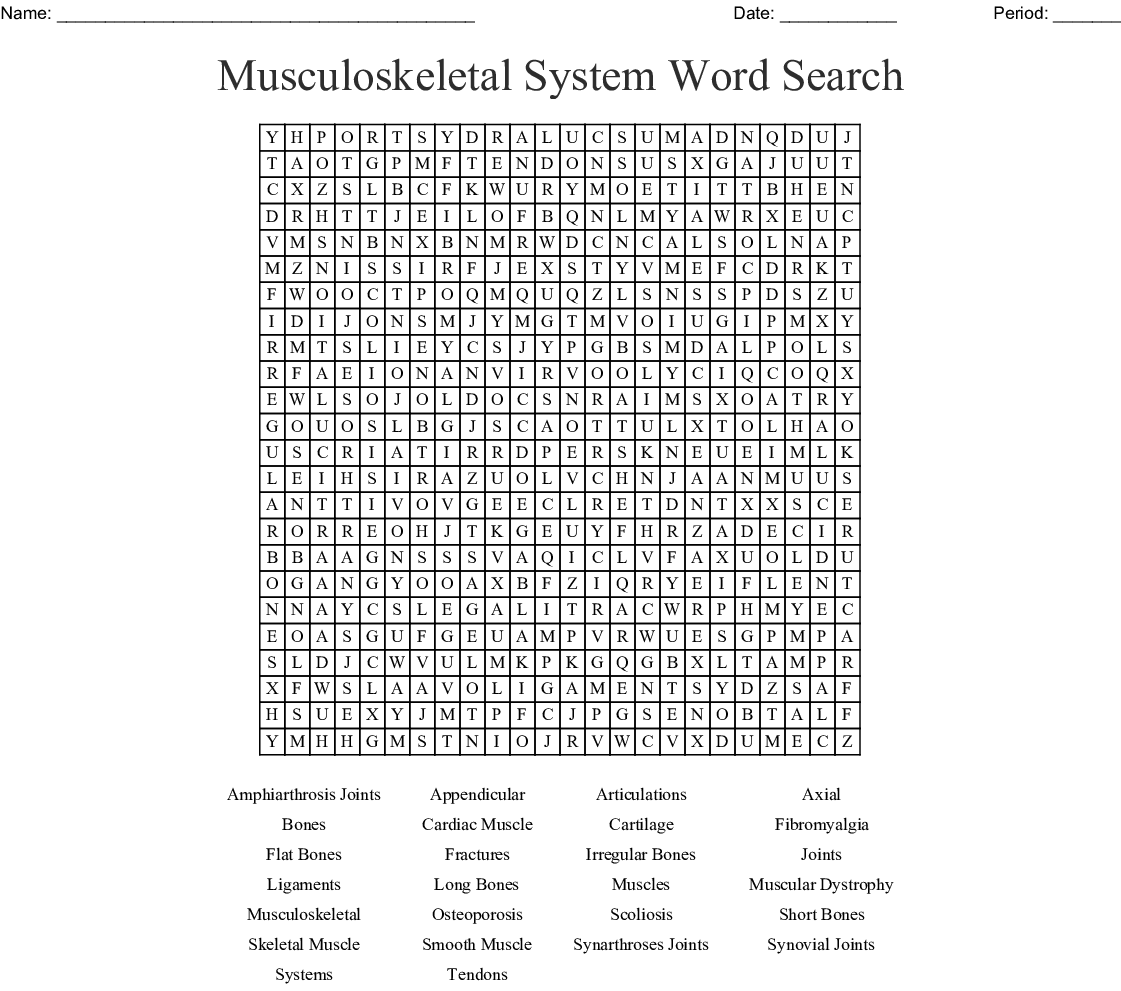 Musculoskeletal System Word Search