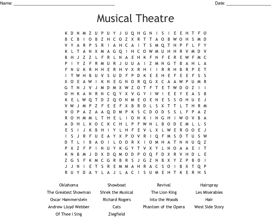 Performing Arts Crosswords Word Searches Bingo Cards