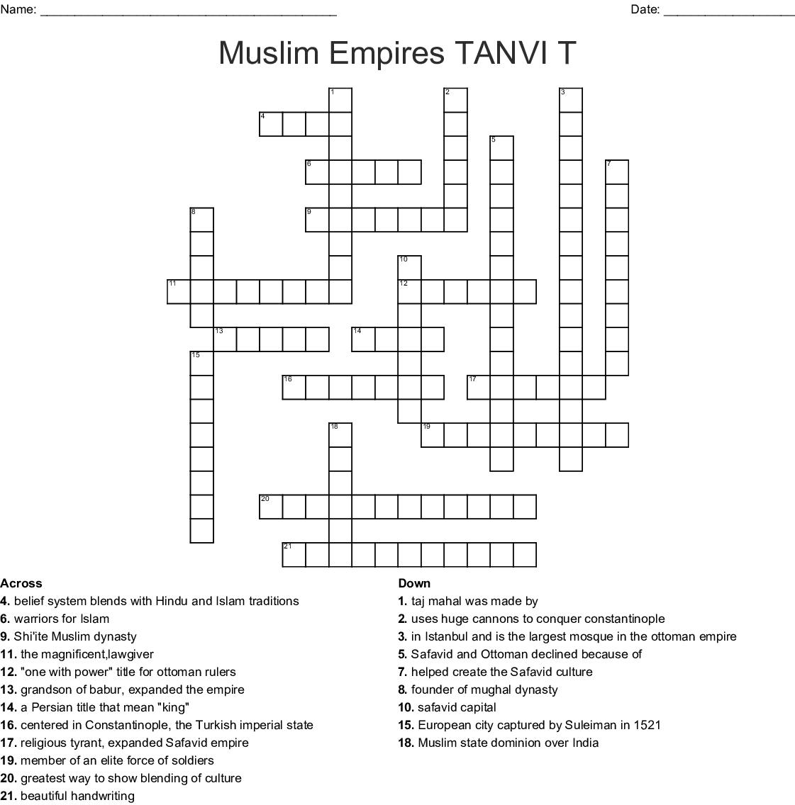 Muslim Empires Tanvi T Crossword