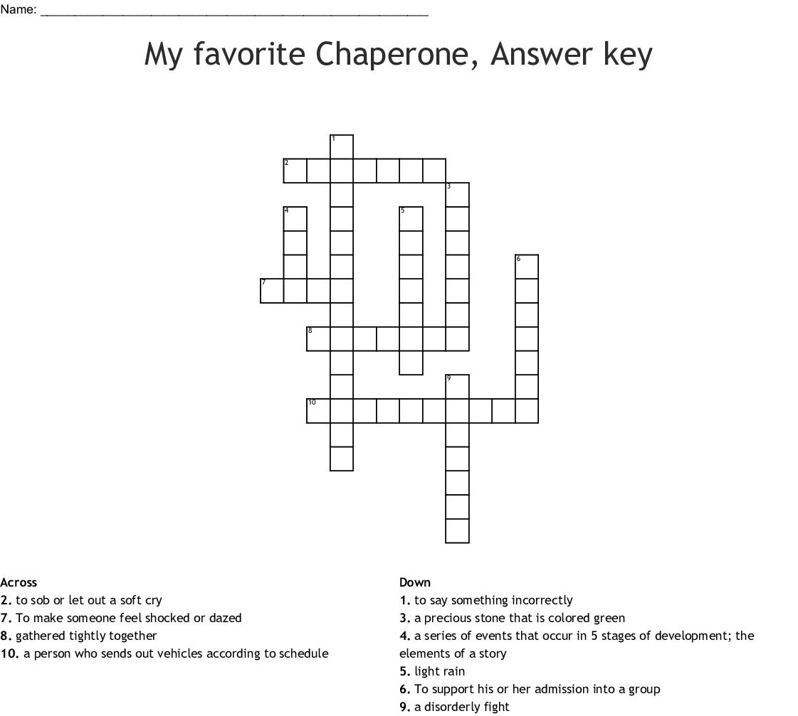 My Favorite Chaperone Answer Key Crossword