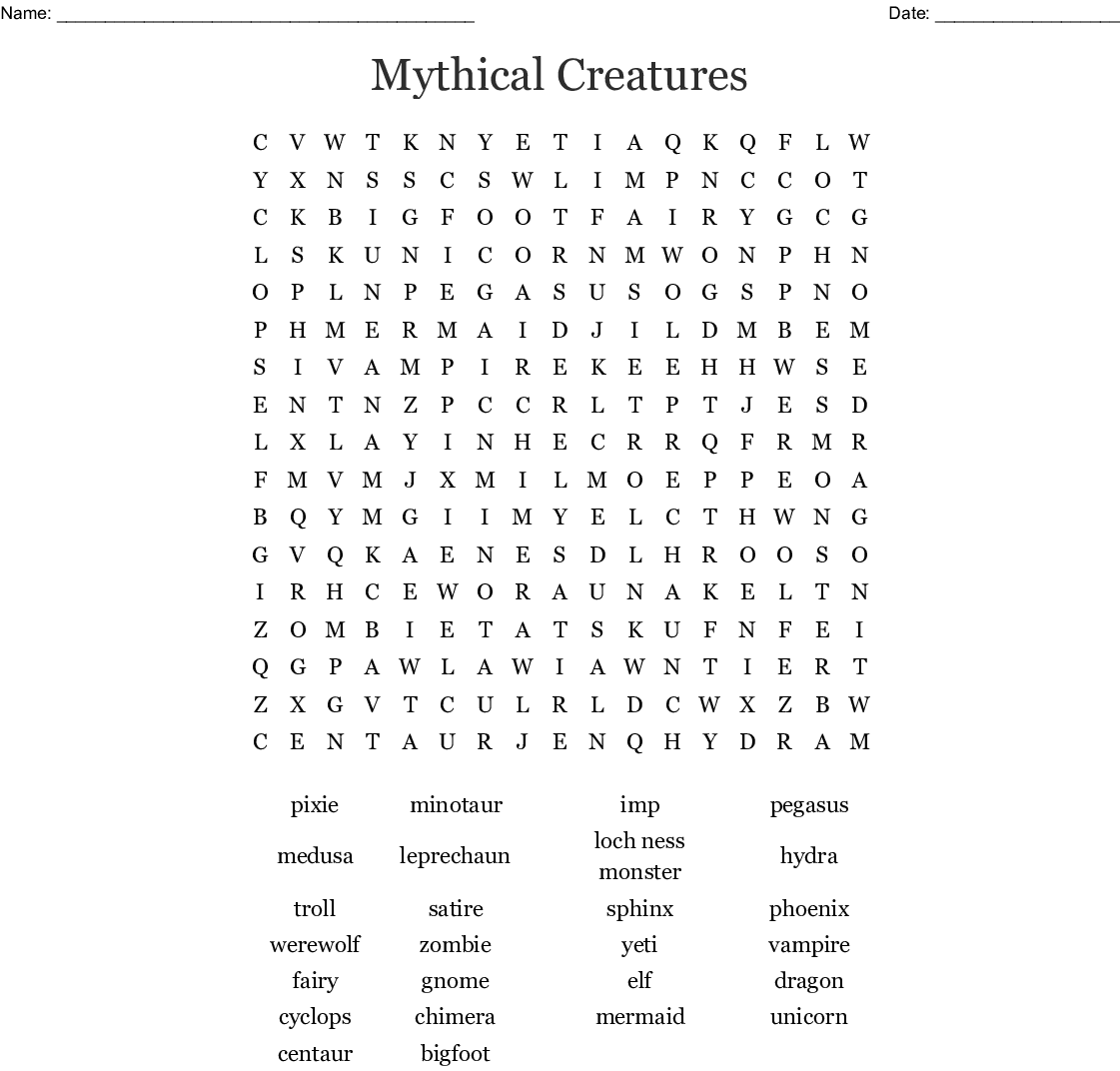 Mythical Creatures Worksheet