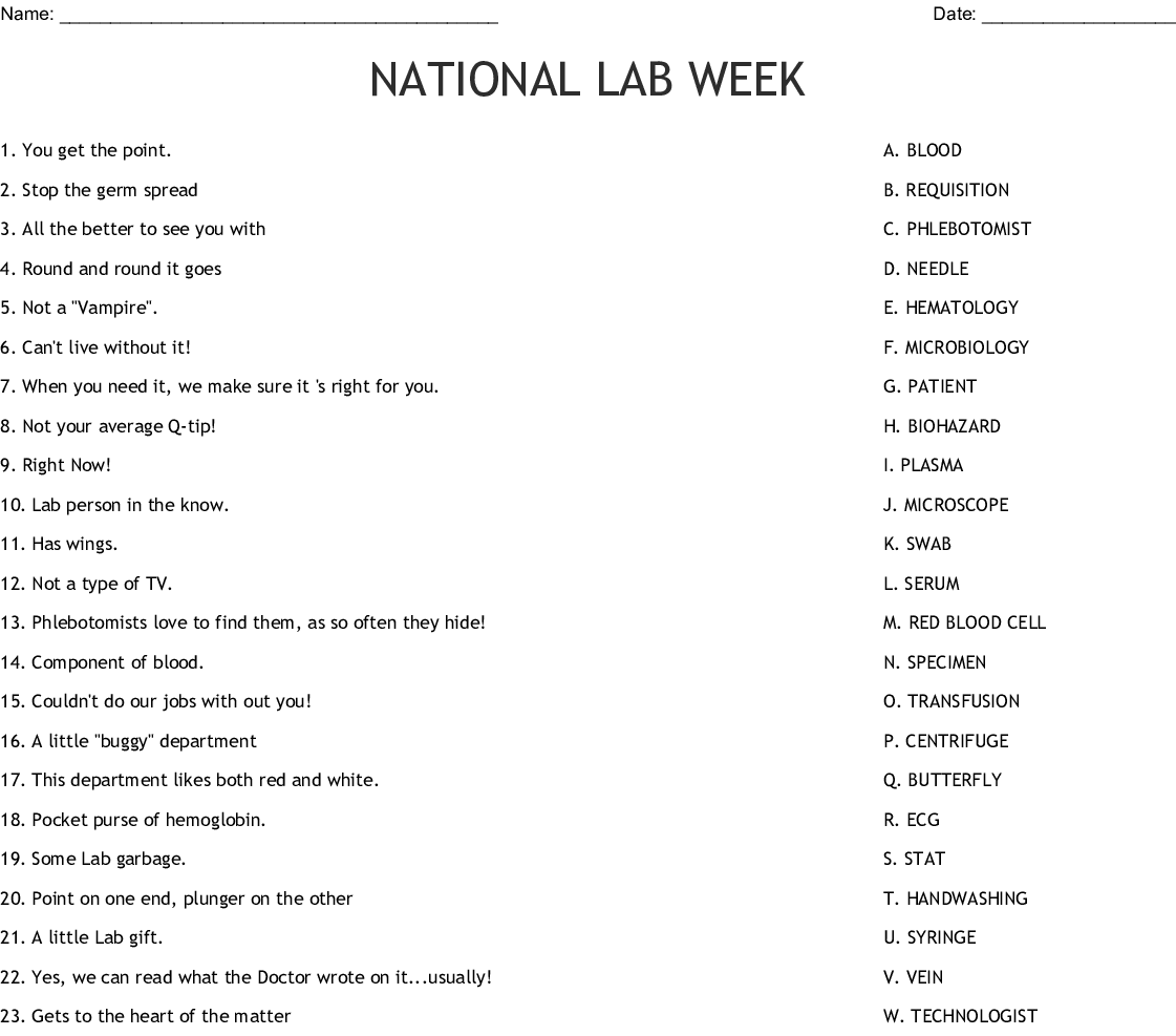 Laboratory Professionals Week Crossword