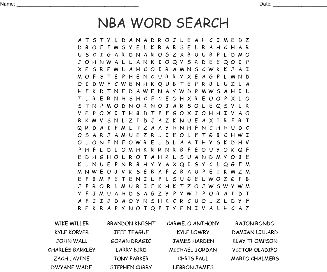Nba Players Word Search
