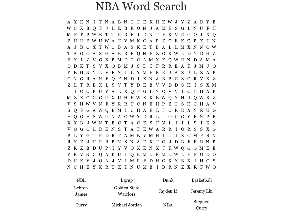 Michael Jordan The Life Word Search