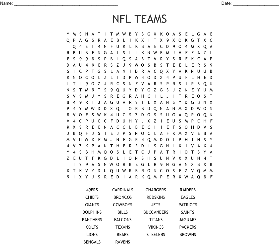 Nfl Football Teams Word Search