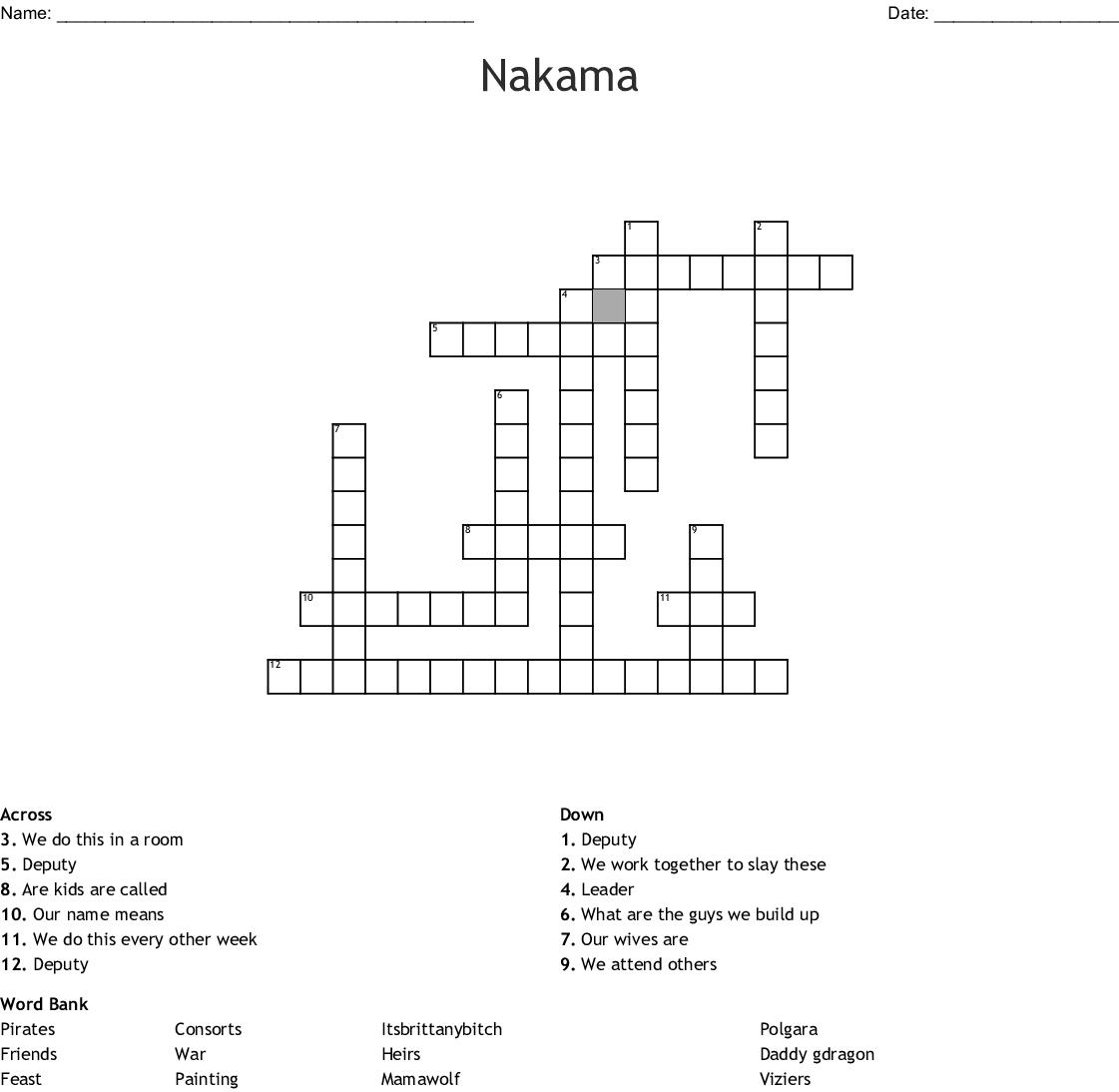 Nakama Crossword