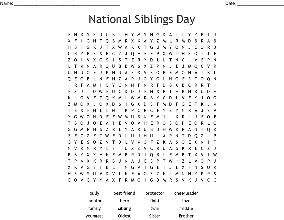 National Siblings Day Word Search