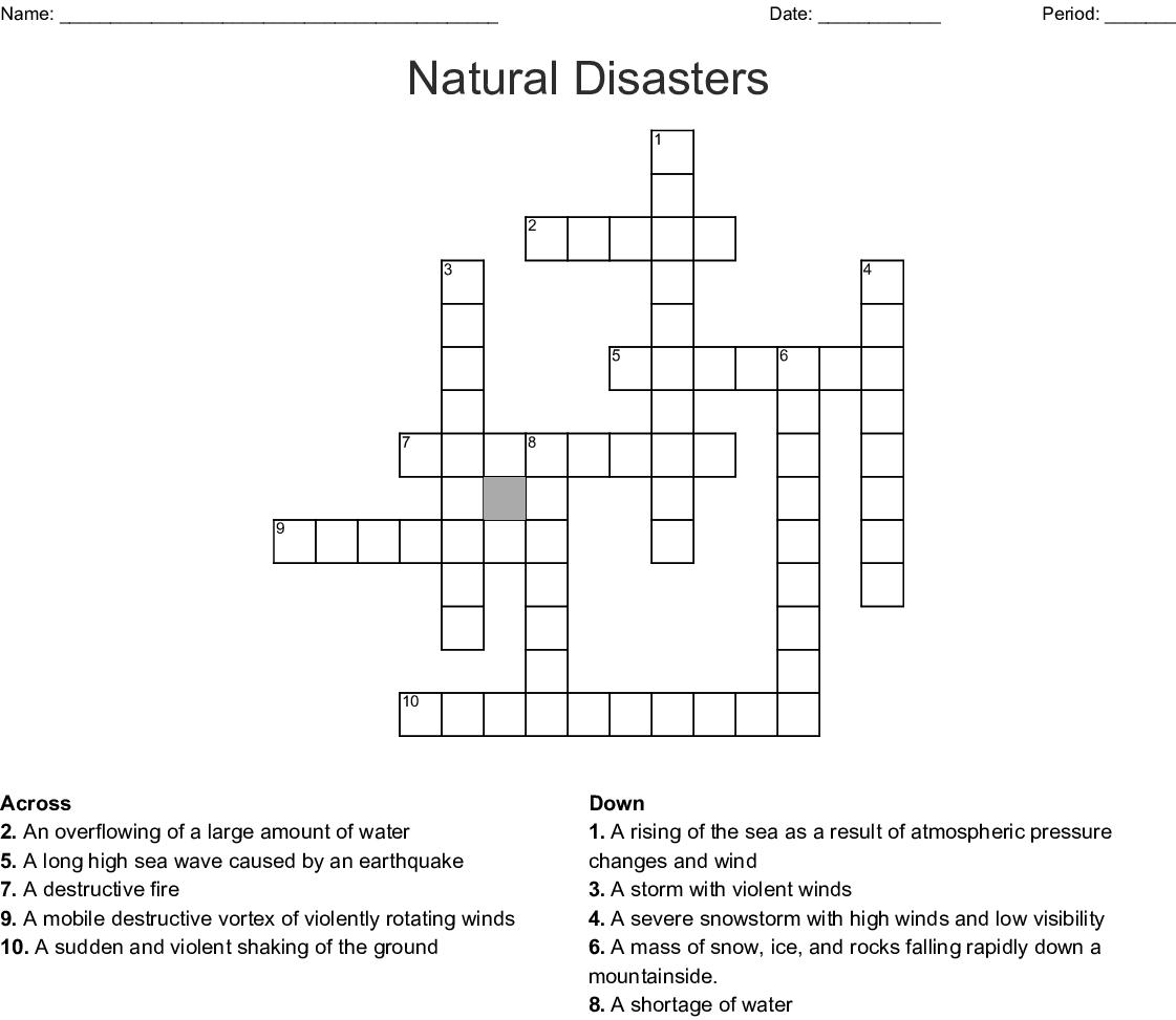 Natural Disasters Crossword