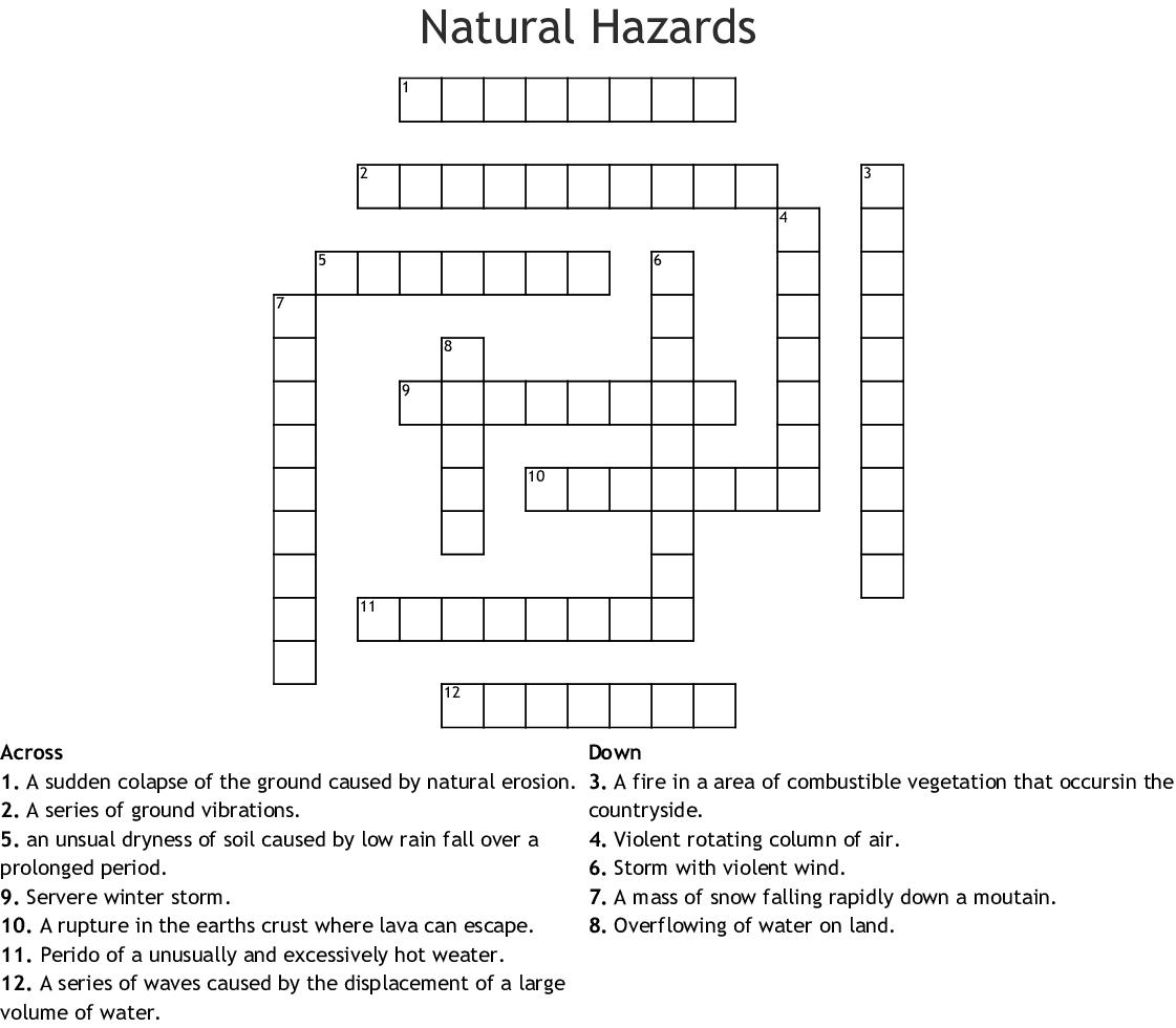 Natural Disaster Crossword Printable