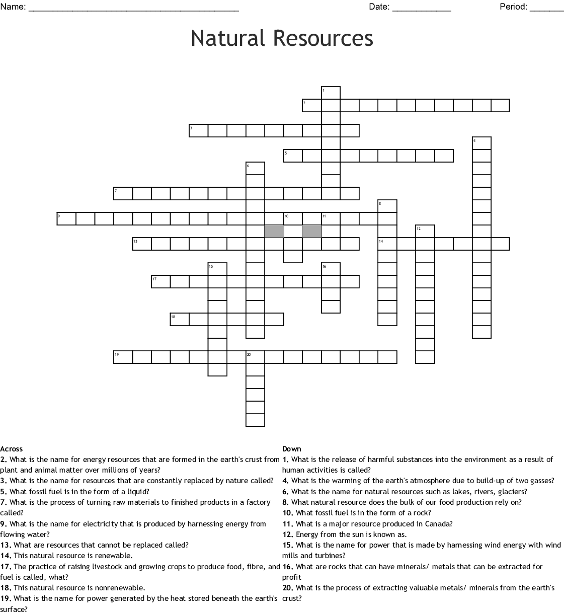 Natural Resources Crossword