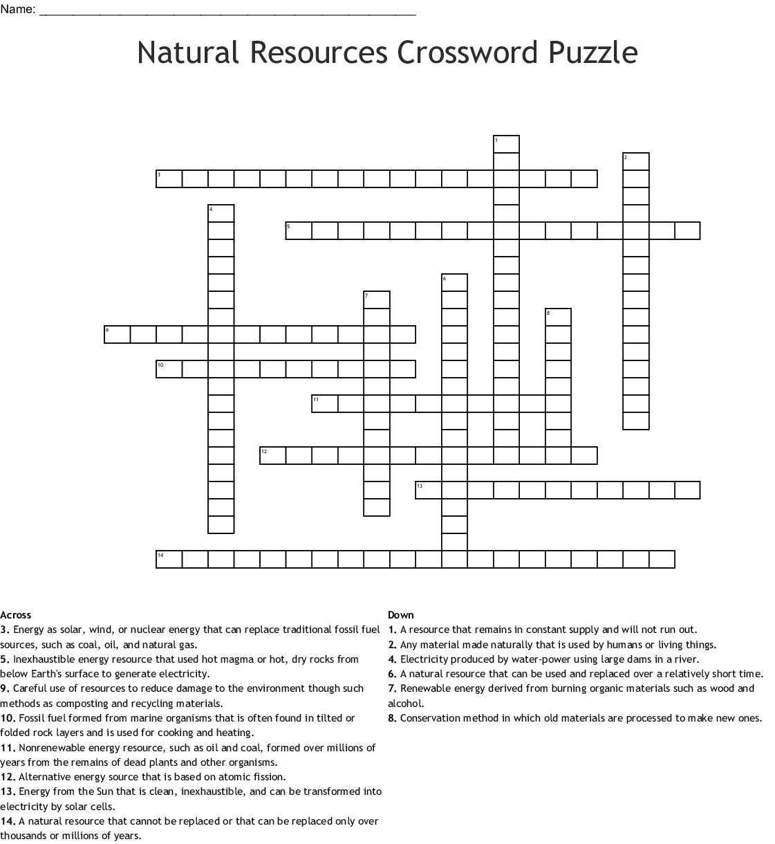 Natural Resources Crossword Puzzle