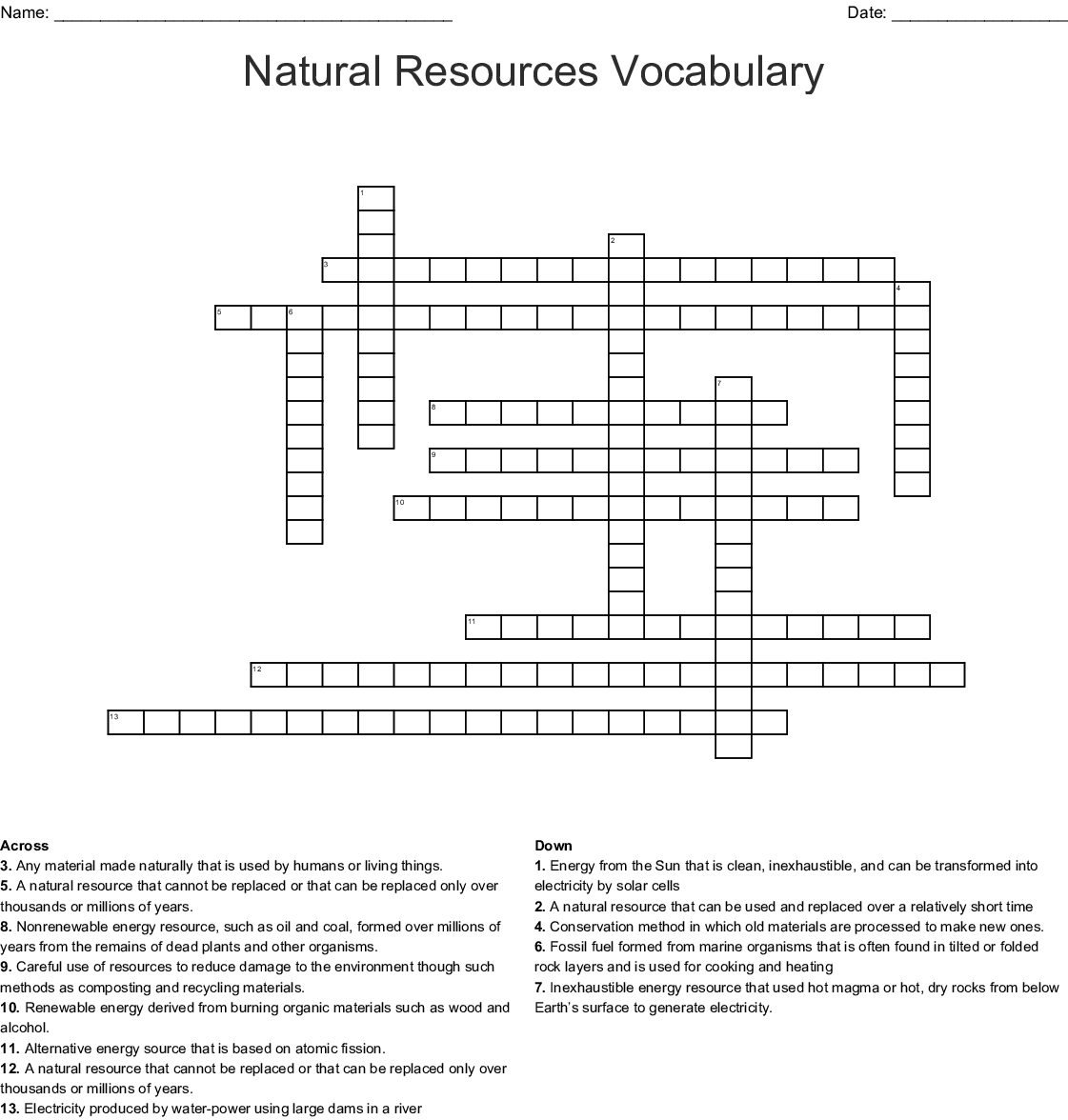 Energy Resources Word Search