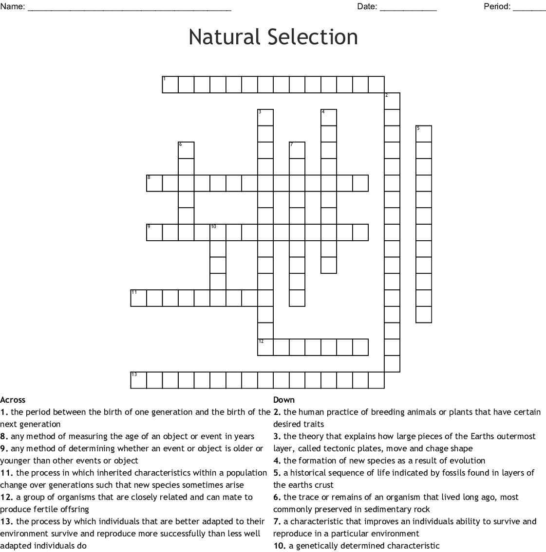 Evolution Crossword Puzzle Answer Key