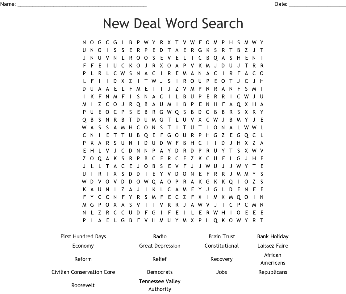 New Deal Alphabet Soup Worksheet