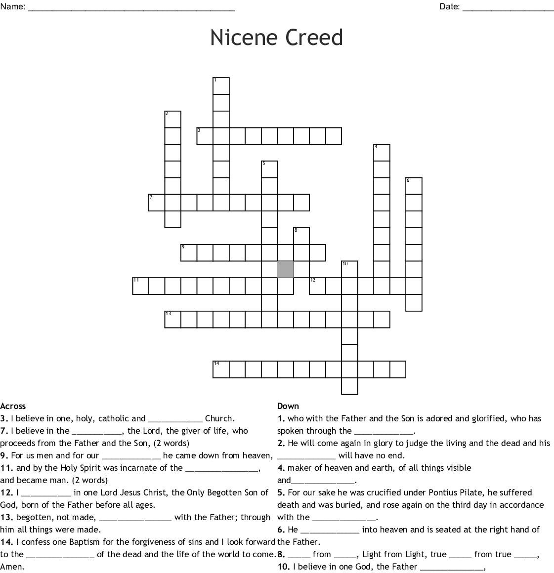 Blank Crossword Worksheet