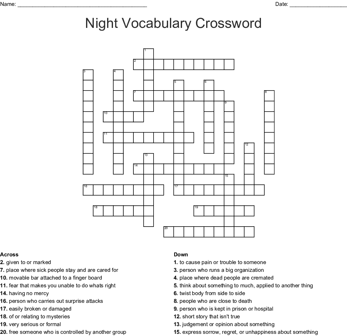 Night Vocabulary Crossword
