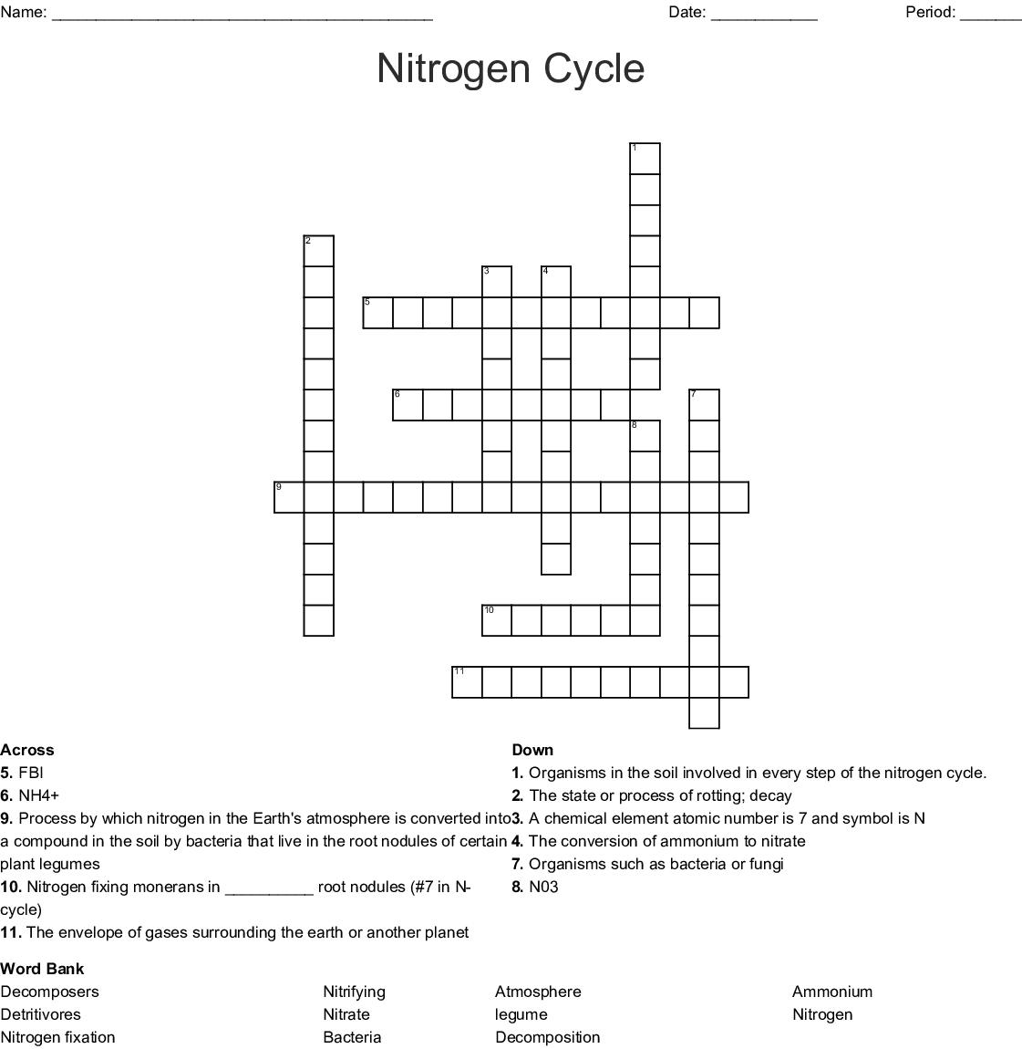 The Nitrogen Cycle Crossword