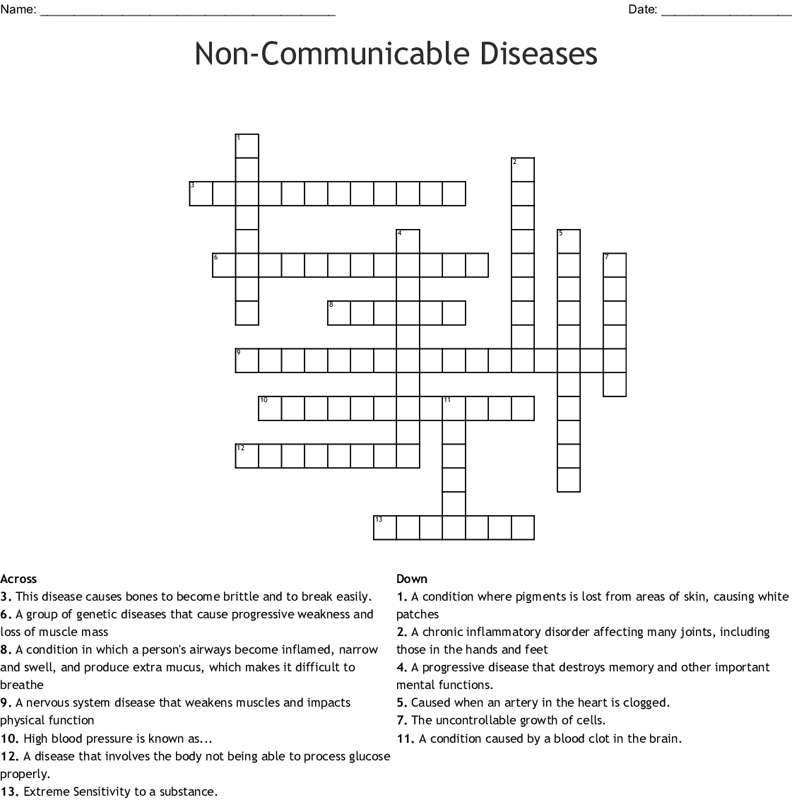 Non Communicable Diseases Crossword