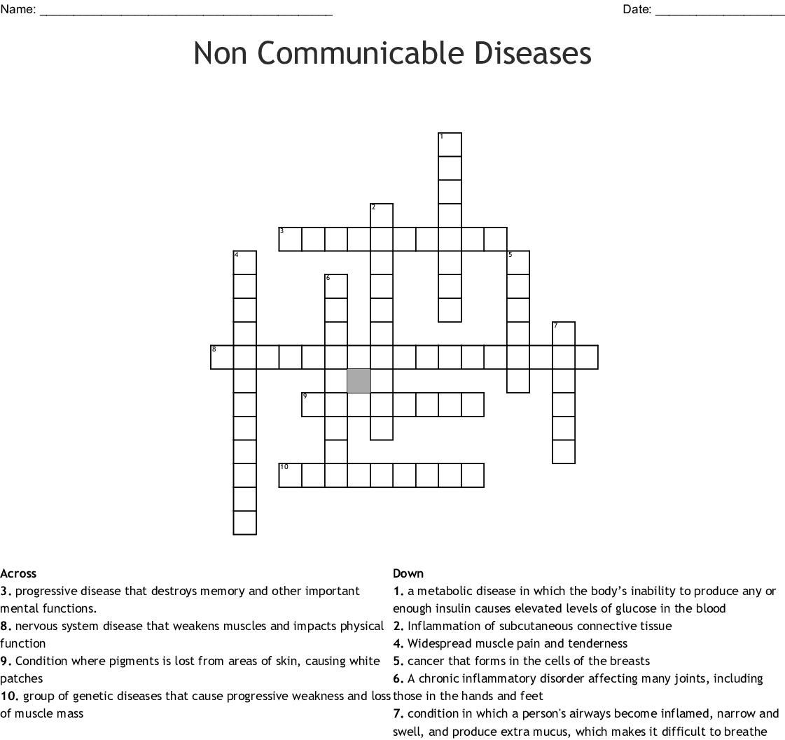 Communicable Amp Non Communicable Diseases Word Search