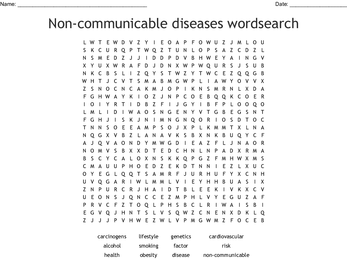 Non Communicable Diseases Wordsearch