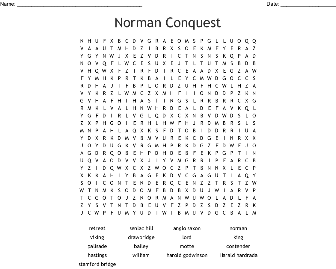 Norman Conquest Word Search