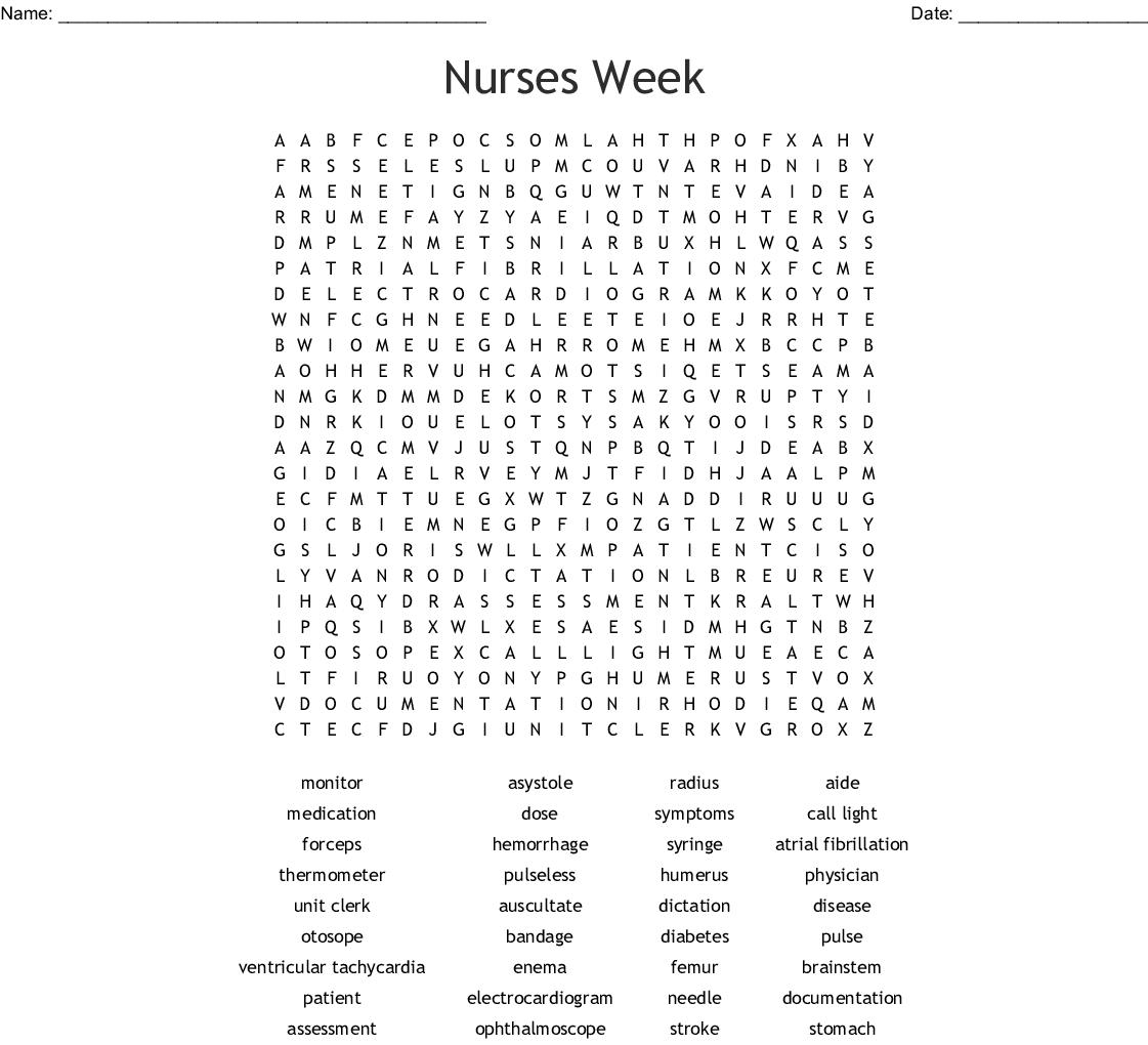 National Nurses Week Word Search