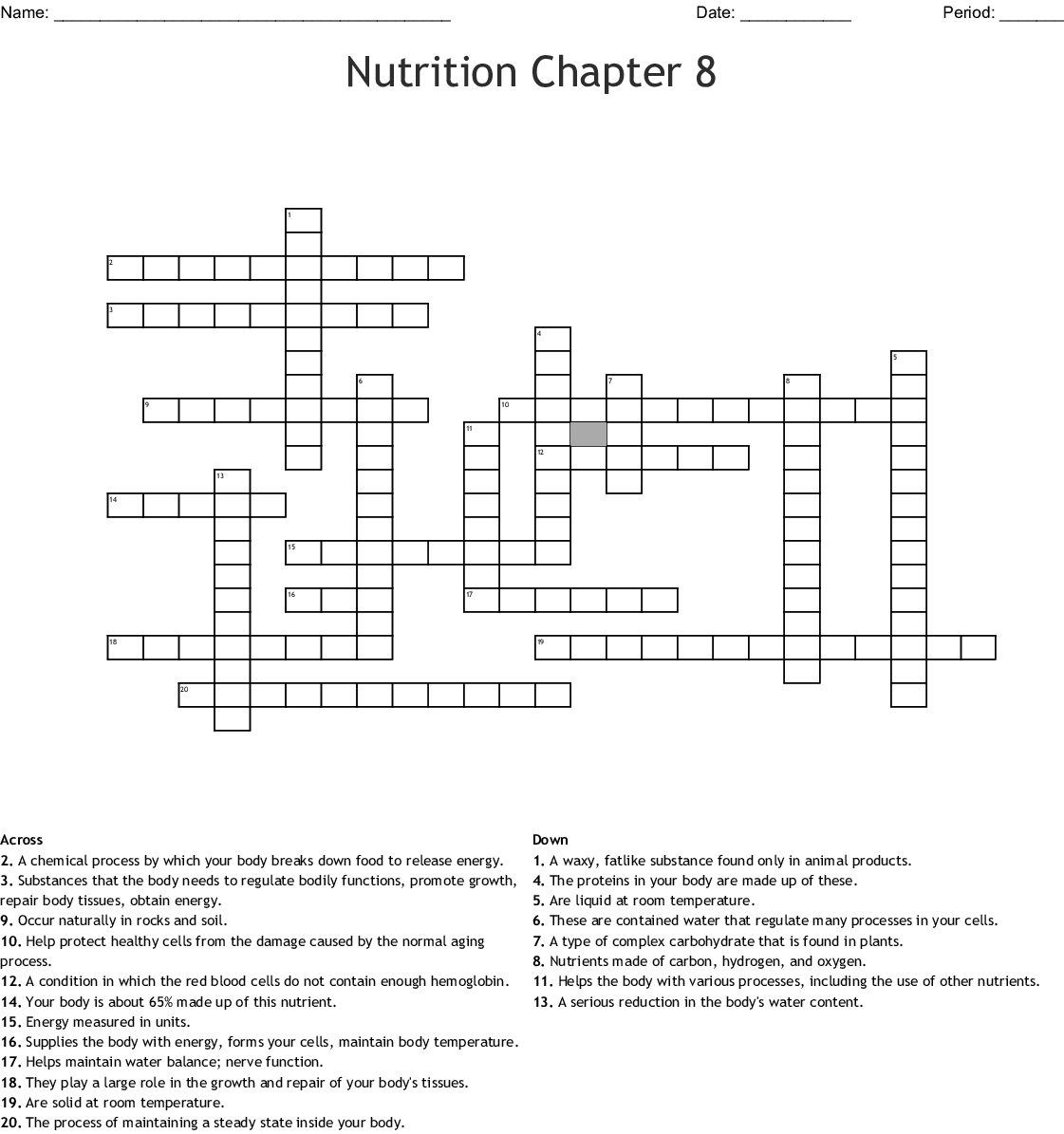 Chapter 10 Nutrition For Health Worksheet Answer Key